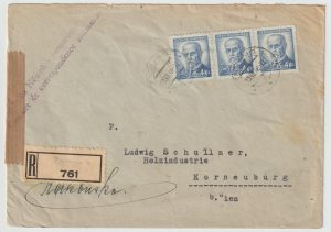 1946  CZECHOSLOVAKIA - AUSTRIA…1946 REGISTERED CENSORED…
