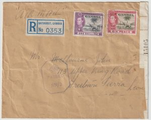 1943  GAMBIA - SIERRA LEONE..WW2 REGISTERED CENSORED AIRMAIL…