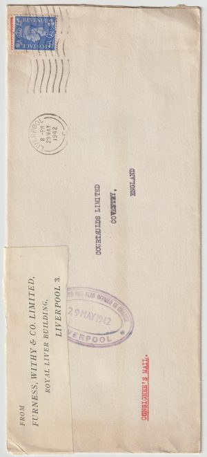 1942   GREAT BRITAIN…WW2 CONSIGNEES MAIL…