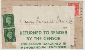 1941  IRELAND…WW2 BELFAST CENSORSHIP OFFICE…