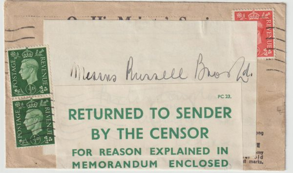 1941  IRELAND…WW2 BELFAST CENSORSHIP OFFICE…