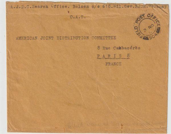 1946  GERMANY - FRANCE…1946 A.J.D.C. at BERGAN BELSEN…