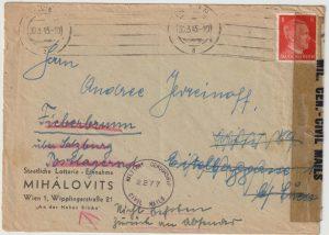 1945   AUSTRIA ..ALLIED OCCUPATION UBERROLLER MAIL RETURNED TO SENDER…