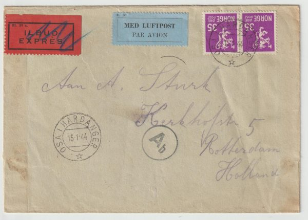 1944  NORWAY - NETHERLANDS...WW2 CENSORED EXPRESS AIRMAIL  from VILLAGE…