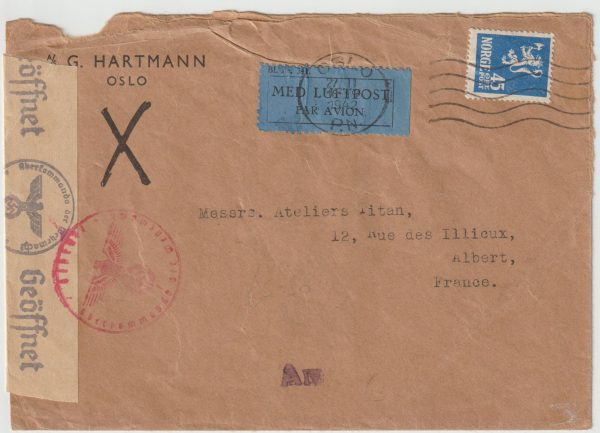 1942  NORWAY - FRANCE...WW2 CENSORED AIRMAIL …