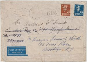 1941  NORWAY - USA...WW2 CENSORED AIRMAIL  & REDIRECTED UNDERCOVER MAIL…