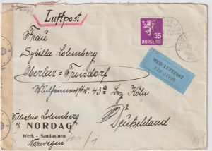 1943  NORWAY - GERMANY...WW2 CENSORED AIRMAIL CHEMICAL TEST STREAKS …