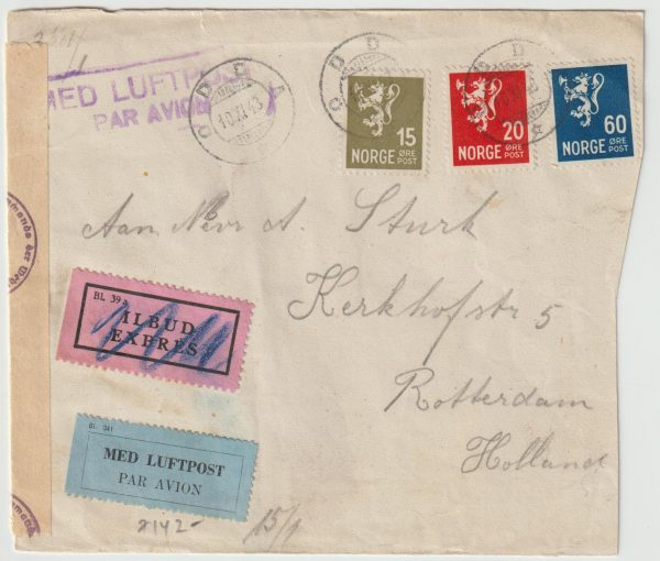 1944  NORWAY - NETHERLANDS...WW2 CENSORED EXPRESS AIRMAIL  from ODDA…