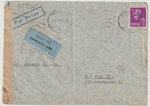 1944  NORWAY - CZECHOSLOVAKIA...WW2 CENSORED AIRMAIL from TRONDHEIM …