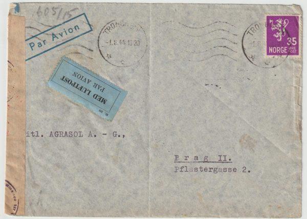 1944  NORWAY - CZECHOSLOVAKIA...WW2 CENSORED AIRMAIL from TRONDHEIM …