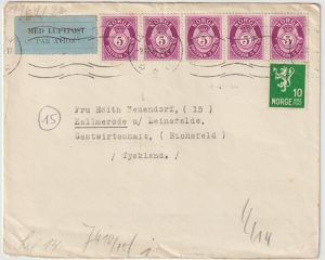 1944  NORWAY - GERMANY...WW2 SCARCE CENSORED AIRMAIL …