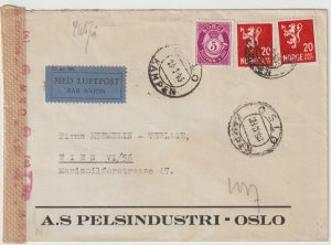 1943  NORWAY - AUSTRIA...WW2 CENSORED  AIRMAIL…