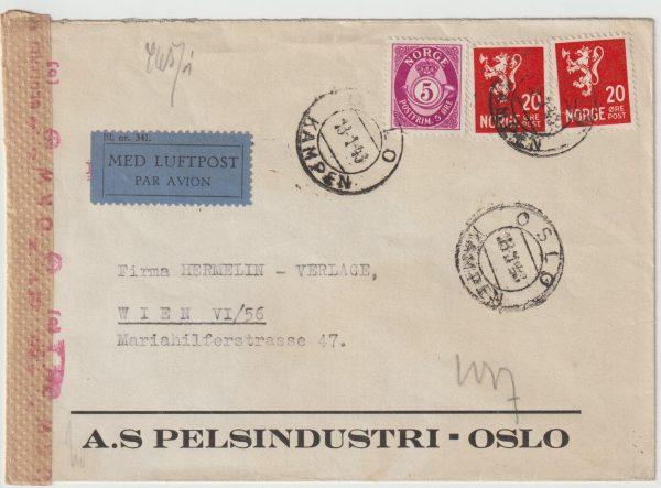 1943  NORWAY - AUSTRIA...WW2 CENSORED  AIRMAIL…