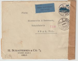 1940  NORWAY - CZECHOSLOVAKIA...WW2 CENSORED  AIRMAIL  with TPO…