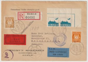 1943   NORWAY - FINLAND...WW2 CENSORED REGISTERED EXPRESS AIRMAIL…