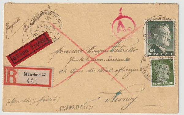 1944  GERMANY - FRANCE…WW2 REGISTERED CENSORED EXPRESS FORCED LABOUR CAMP...