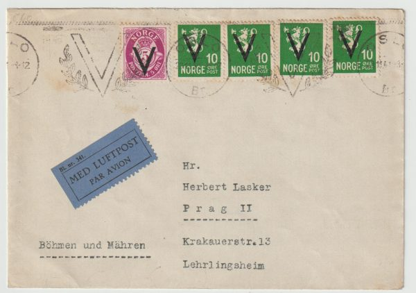 1941  NORWAY - BOHEMIA MORAVIA..1941 AIRMAIL with V OVERPRINTS & CANCEL...
