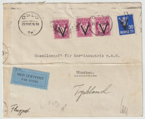 1941  NORWAY - GERMANY...1941 AIRMAIL with V OVERPRINTS …