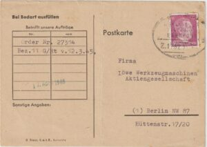 1945  GERMANY…WW2 ALLIED OCCUPATION UBEROLLER MAIL..IRON TRANSFER FORM