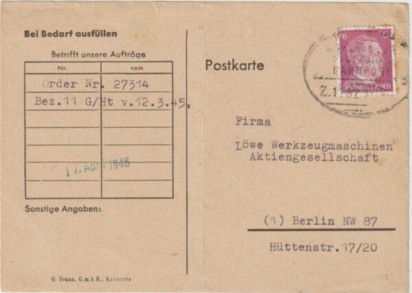 1945  GERMANY…WW2 ALLIED OCCUPATION UBEROLLER MAIL..IRON TRANSFER FORM