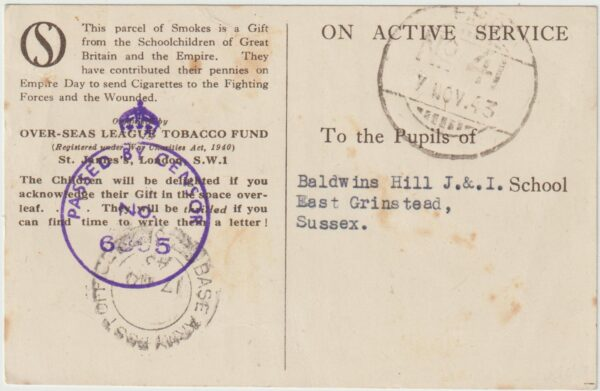 1943  ITALY - GB....BRITISH INDIAN FORCES OVERSEAS TOBACCO FUND CARD