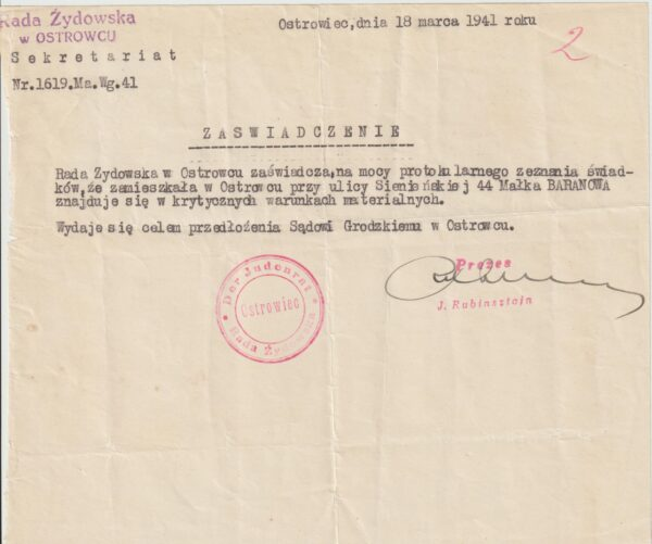 1941  POLAND…1941 THE JEWISH COUNCIL in OSTROWIEC…