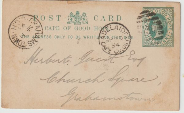 1894  SOUTH AFRICA….C.O.G.H…ADELAIDE - GRAHAMSTOWN…