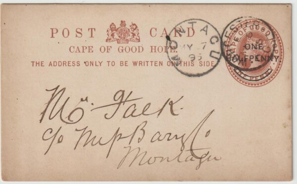 1895  SOUTH AFRICA….C.O.G.H…WORCESTER - MONTAGU…
