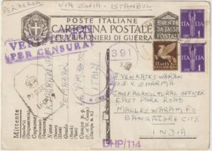 ITALY -1942    INDIA…WW2 …INDIAN POW AIRMAIL via SOFIA & ISTANBUL…