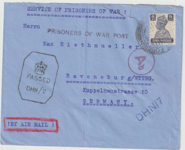 1943  INDIA - GERMANY...INTERNMENT CAMP DEHRA DUN