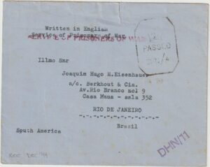 1944  INDIA - BRAZIL.. INTERNMENT CAMP DEHRA DUN…