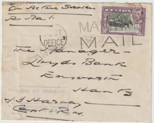 1942|1944 CEYLON - GREAT BRITAIN...WW2 H.M. NAVAL OFFICE…ROYAL MARINE…