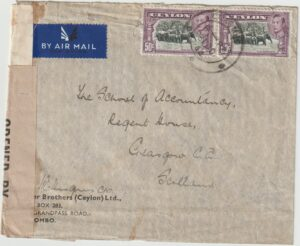 1944  CEYLON - GB… WW2 CENSORED AIRMAIL…