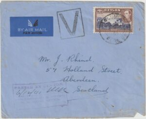 1941 CEYLON - GB..WW2 NAVAL CENSOR with VICTORY MARK…