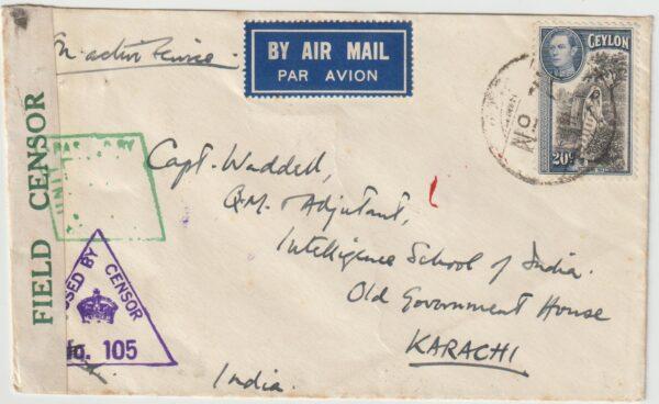 1942  CEYLON - INDIA..WW2 AIRMAIL MILITARY CENSORSHIP…