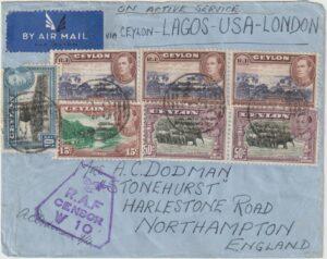 c1942  CEYLON - GB…WW2 TWICE ACROSS the ATLANTIC via LAGOS..