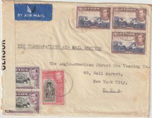 1941 CEYLON - USA..WW2 TRANS-PACIFIC AIR MAIL…