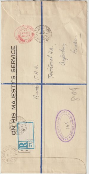 1942  GREAT BRITAIN…WW2 O.H.M.S. REGISTERED..