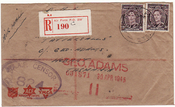 [11986]  PAPUA & N.G.-AUSTRALIA [WW2 AUST. FORCES REGISTERED CENSORED]  1945(Apr 2)