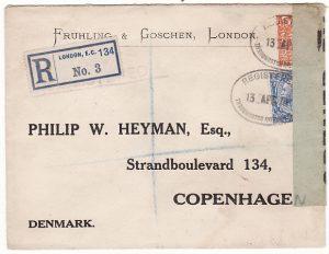 GB-DENMARK [WW1 REGISTERED CENSORED with SCARCE LABEL]