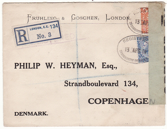 GB-DENMARK [WW1 REGISTERED CENSORED with SCARCE LABEL]
