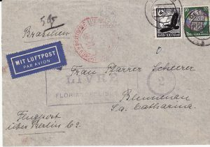 GERMANY-BRAZIL [AIRMAIL to SANTA CATERINA ISLAND CENSORED]