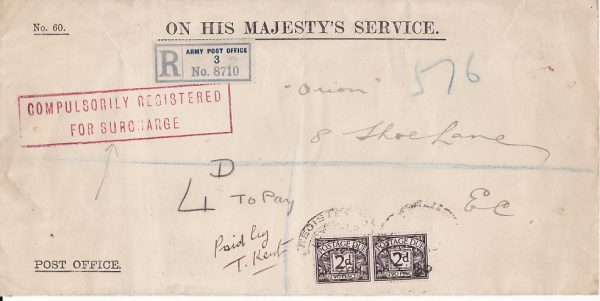 FRANCE-GB [WW1 BRITISH FORCES OHMS COMPULSORILY REGISTERED]
