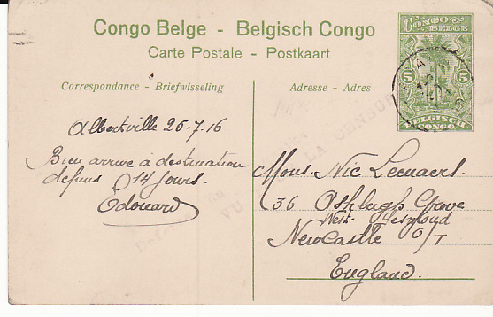 [12772]  BELGIAN CONGO-GB [WW1 BELGIAN FORCES GERMAN EAST AFRICAN CAMPAIGN]  1916(Jul 26)
