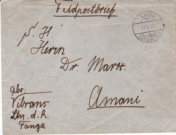 GERMAN EAST AFRICA [WW1 GERMAN FORCES FELDPOSTBRIEF]