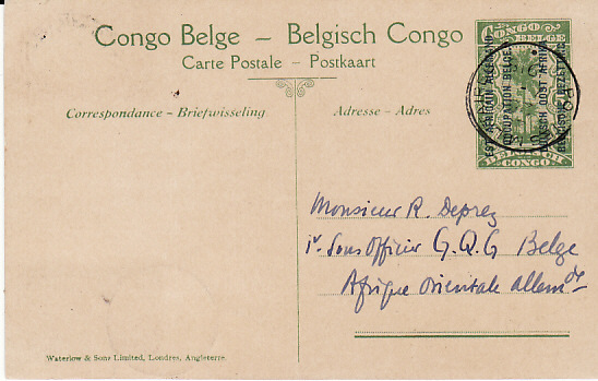 GERMAN EAST AFRICA [WW1 BELGIAN FORCES EAST AFRICAN CAMPAIGN]
