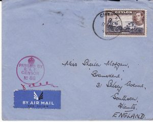 CEYLON-GB [WW2 AIRMAIL RAF CENSOR]
