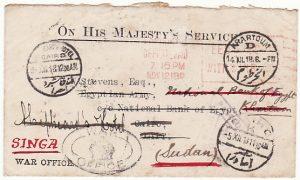 GB-EGYPT-SUDAN [WW1 OHMS WAR OFFICE-HOTEL]