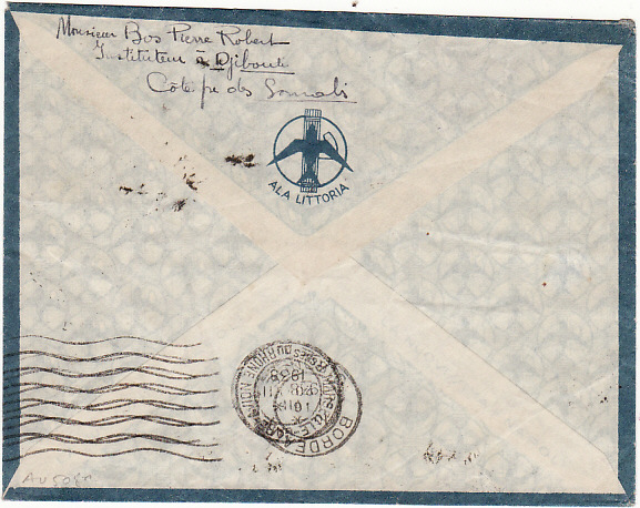 [13597]  FRENCH SOMALI COAST-FRANCE   1938(Ju1 15)