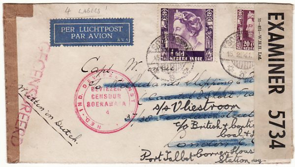 N.E.I.-GB [WW2 AIRMAIL with MULTIPLE CENSORSHIP to SHIPPING LINE cover]